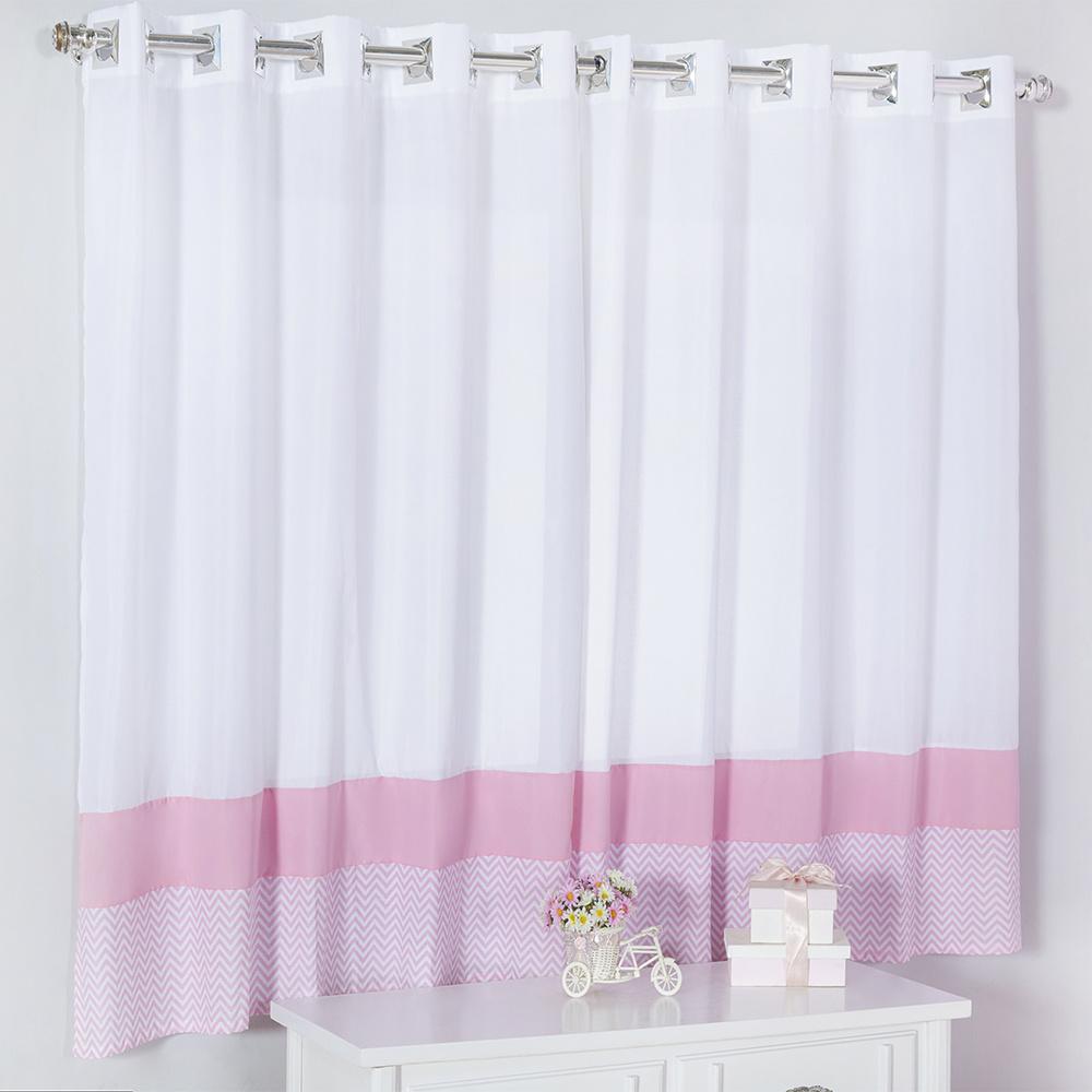 Cortina Para Quarto De Bebê 2,70m x 1,50m Para Varão Simples Tecido Misto Menina Sonho Encantado - Rosa