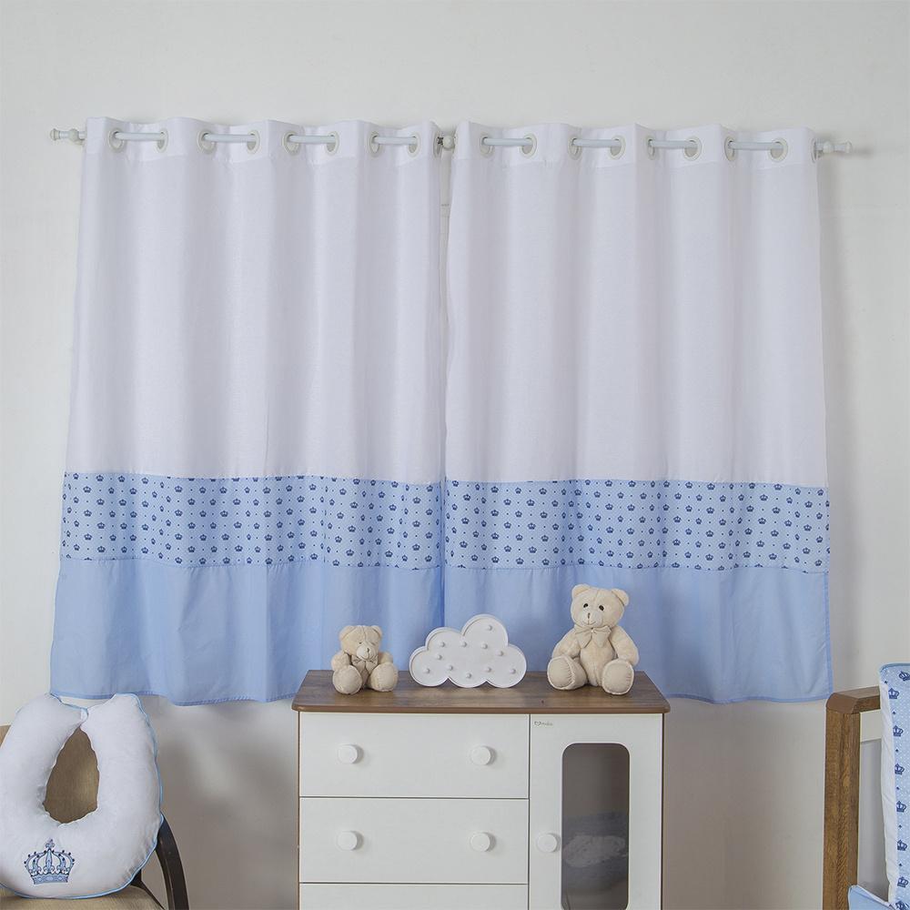 Cortina Para Quarto De Bebê 2,70m x 1,50m Para Varão Simples Tecido Misto Menino Principe - Azul Claro