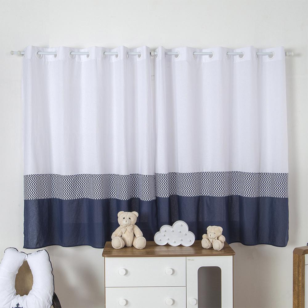 Cortina Para Quarto De Bebê 2,70m x 1,50m Para Varão Simples Tecido Misto Menino Principe - Azul Marinho