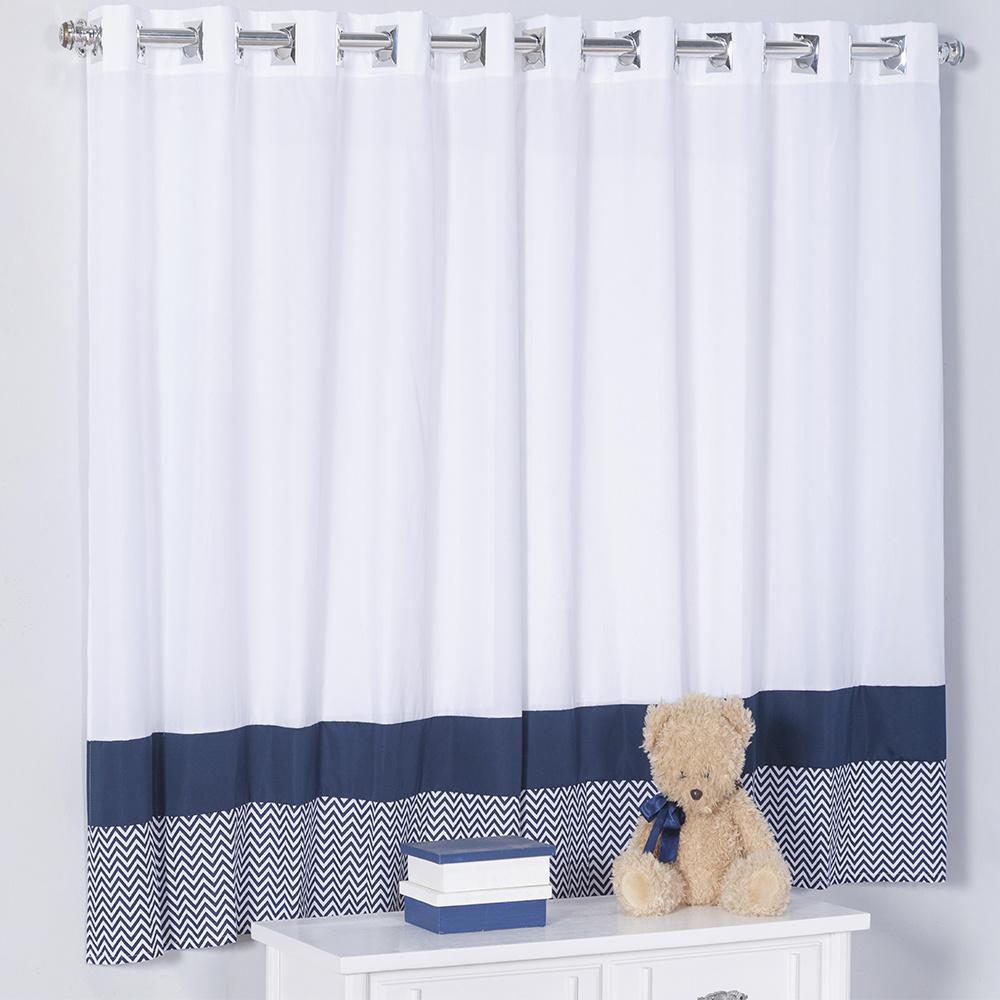 Cortina Para Quarto De Bebê 2,70m x 1,50m Para Varão Simples Tecido Misto Menino Sonho Encantado - Azul Marinho