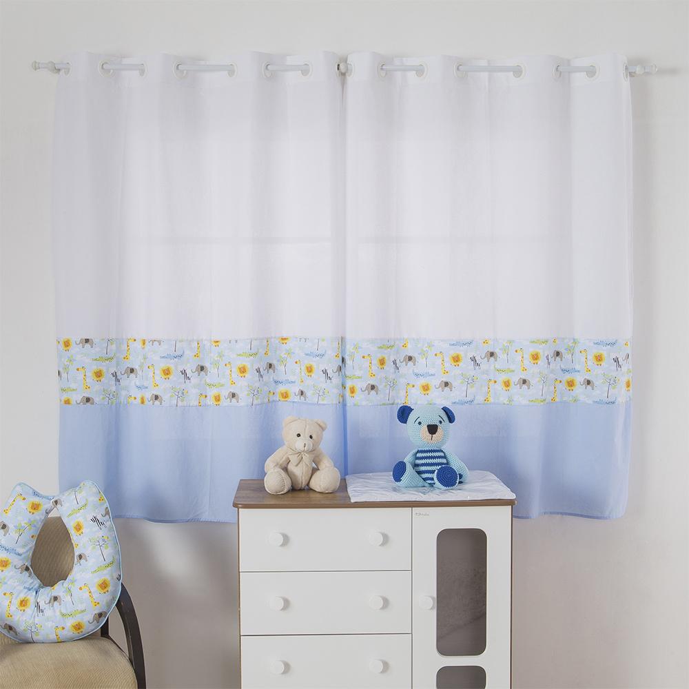 Cortina Para Quarto De Bebê 2,70m x 1,50m Para Varão Simples Tecido Misto Savana - Azul Claro