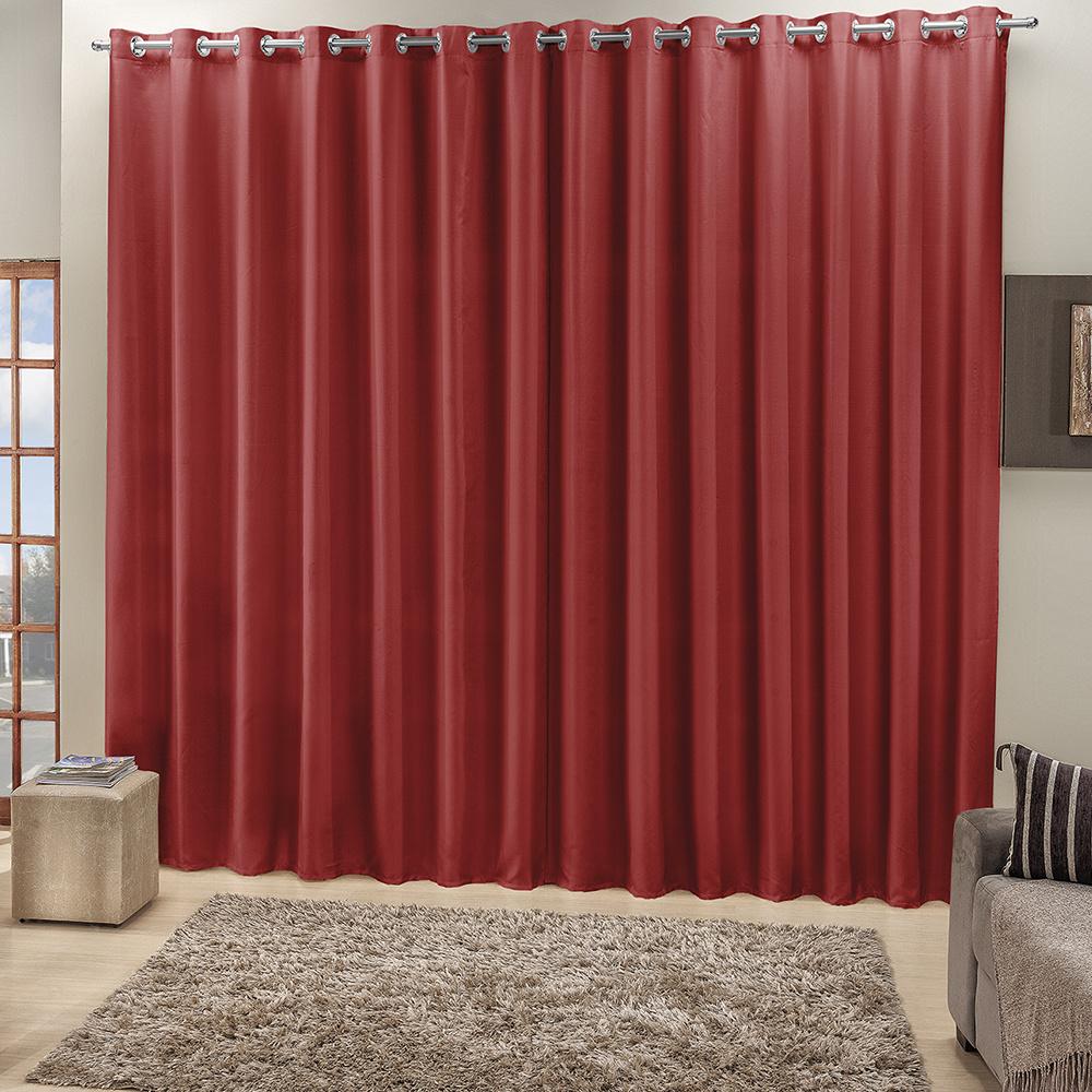 Cortina Roma Tecido Ráfia 4,00M x 2,50M Para Varão Simples - Vermelho