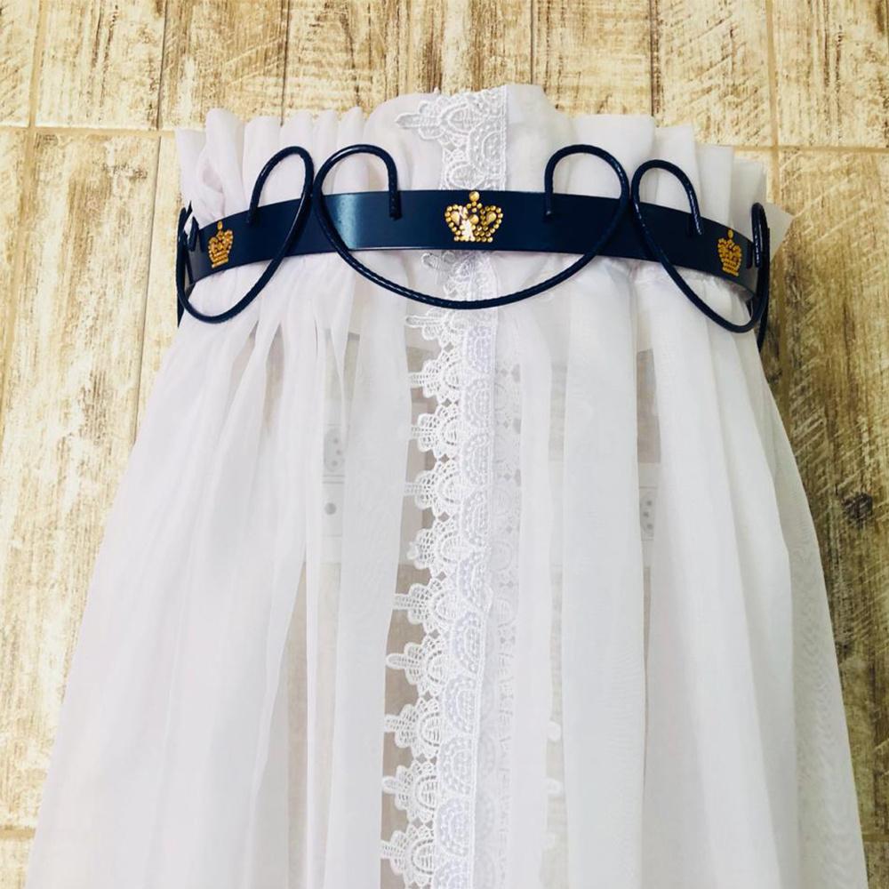 Dossel Largo De Parede Arabesco Com Detalhe De Coroa Para Quarto De Bebê - Azul
