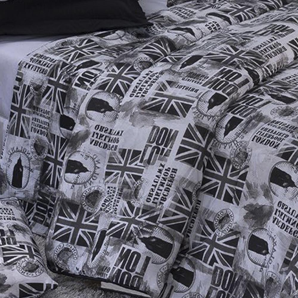 Edredom Solteiro Dupla Face Classic Estampado Tecido 160 fios - London