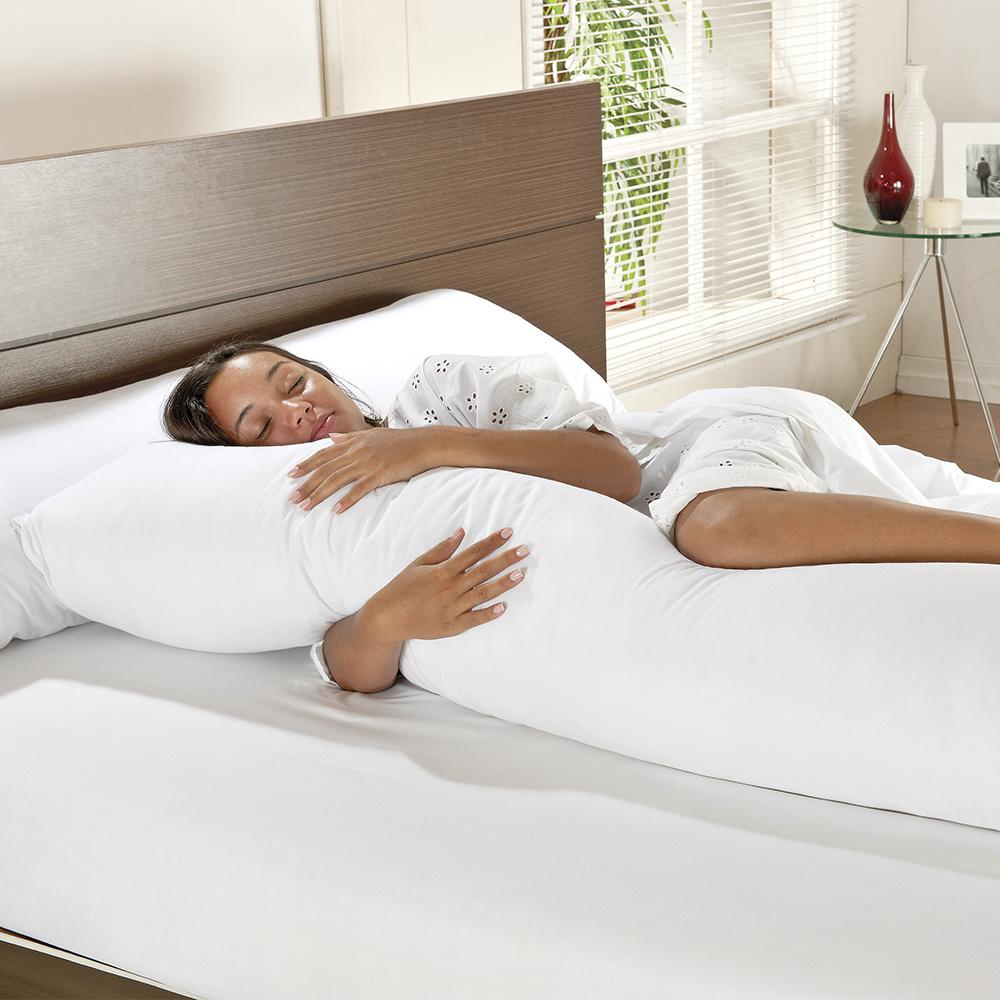 Fronha 100% Algodão Percal 150 Fios Com Zíper para Travesseiro De Corpo 1,60m x 45CM - Branco