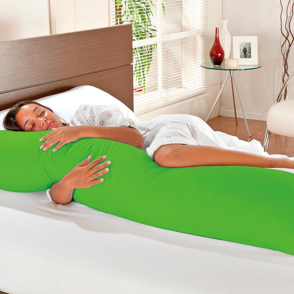 Fronha 100% Algodão Percal 150 Fios Com Zíper para Travesseiro De Corpo 1,60m x 45CM - Verde Pistache