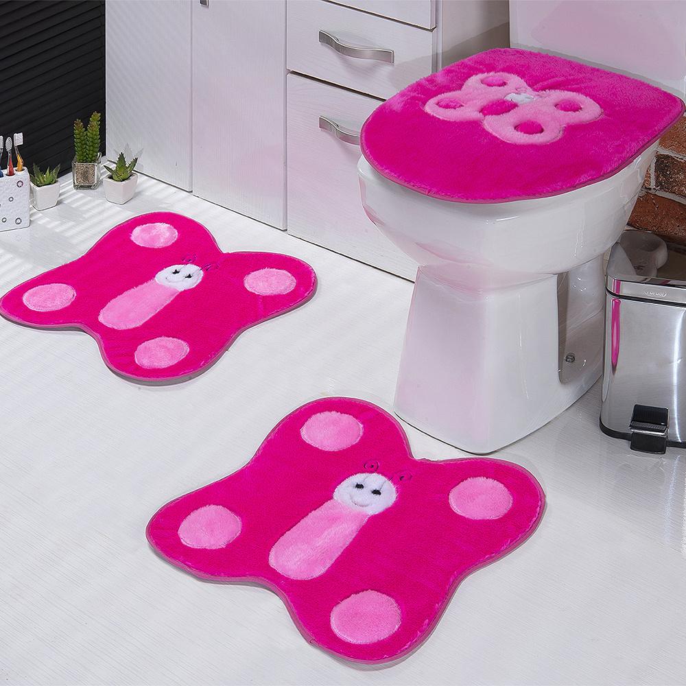 Jogo De Banheiro 03 Peças Em Pelúcia Borboleta - Pink