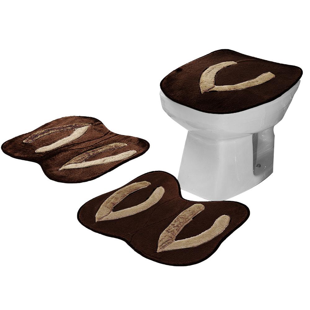 Jogo De Banheiro 03 Peças Em Pelúcia Chinelo - Tabaco