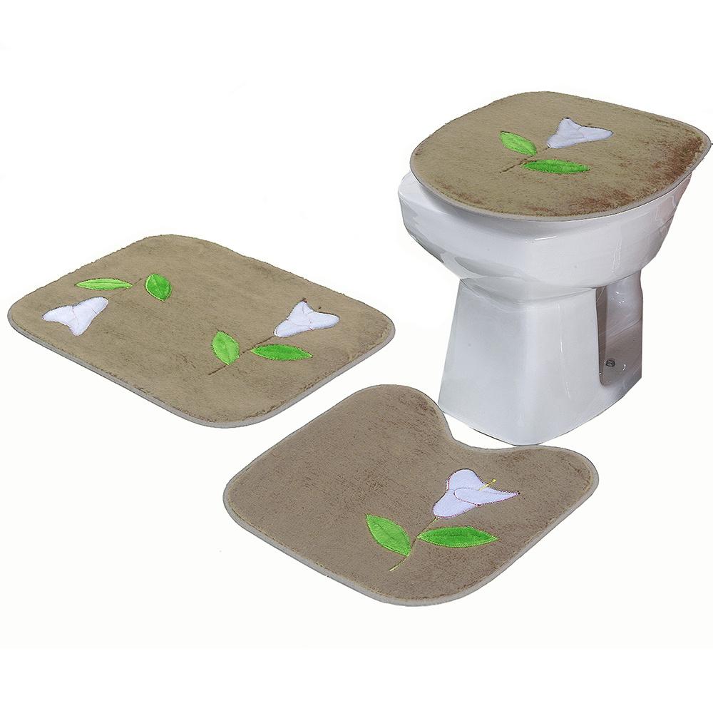 Jogo De Banheiro 03 Peças Em Pelúcia Estampa Flor Copo De Leite - Cáqui