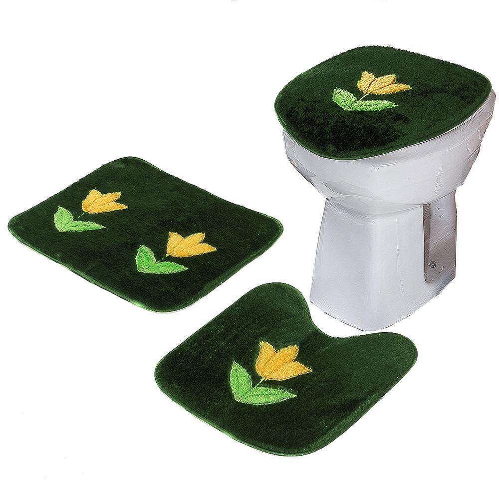 Jogo De Banheiro 03 Peças Em Pelúcia Estampa Flor Tulipa - Verde