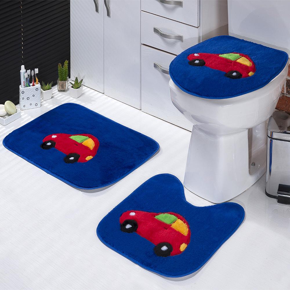 Jogo De Banheiro 03 Peças Em Pelúcia Estampa Fusca - Azul Royal