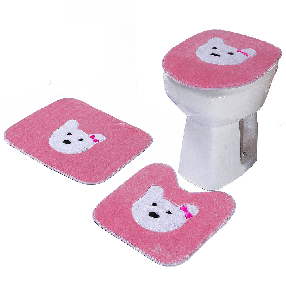 Jogo De Banheiro 03 Peças Em Pelúcia Estampa Gatinha - Pink