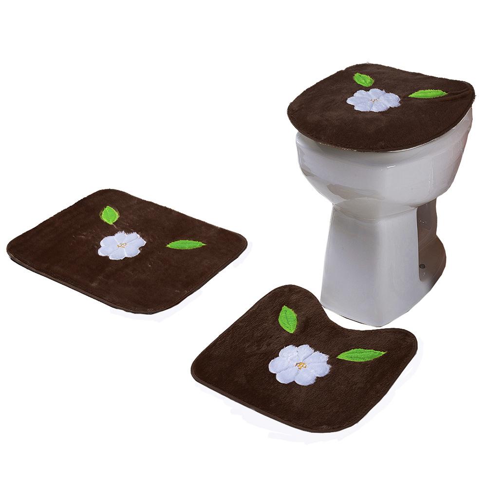 Jogo De Banheiro 03 Peças Em Pelúcia Estampa Margarida Folha - Tabaco