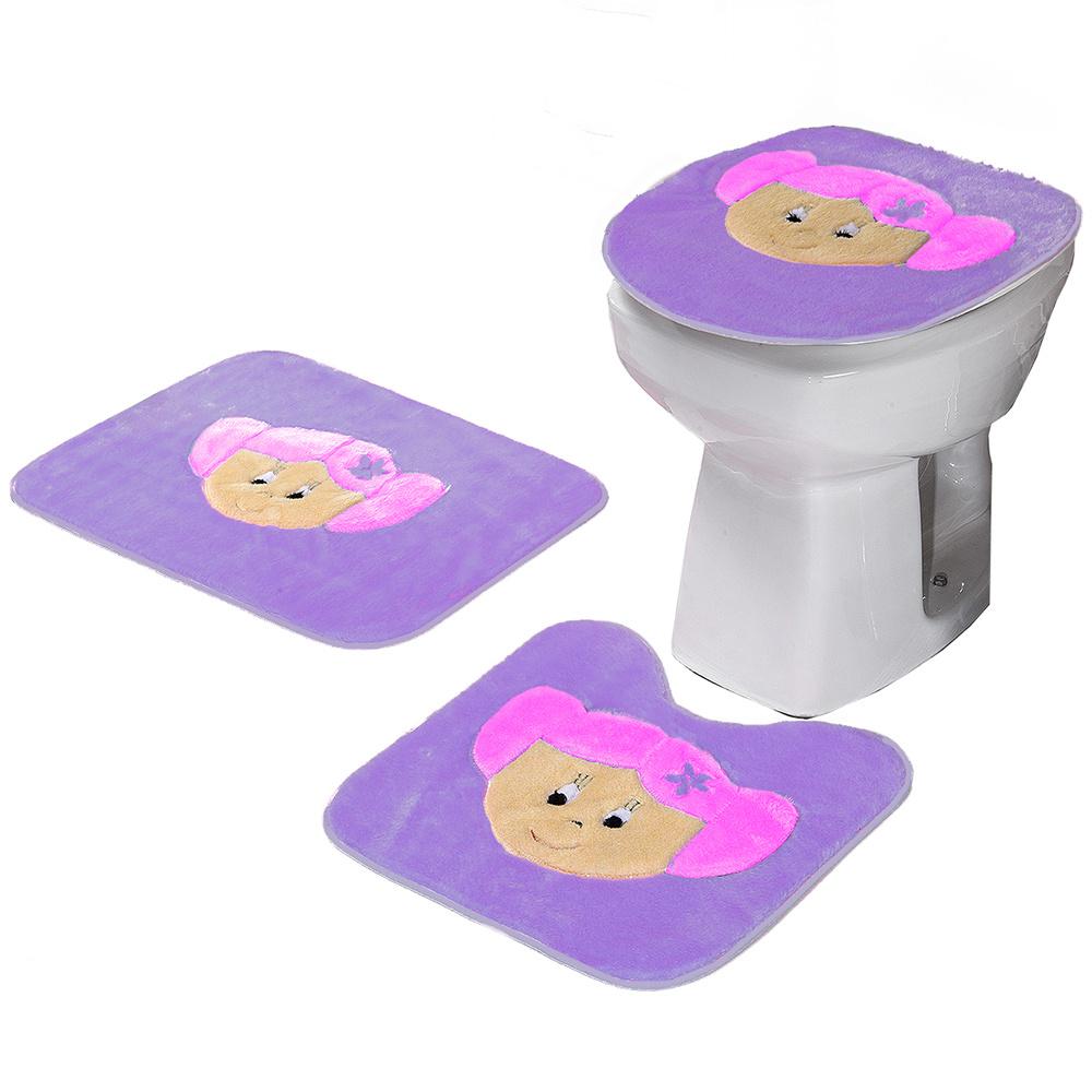 Jogo De Banheiro 03 Peças Em Pelúcia Estampa Menina - Lilás