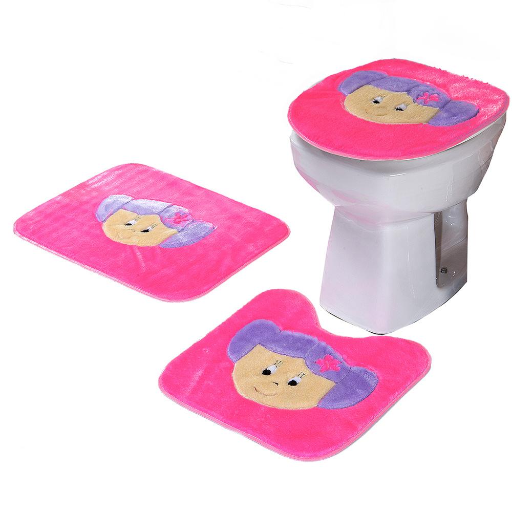 Jogo De Banheiro 03 Peças Em Pelúcia Estampa Menina - Pink