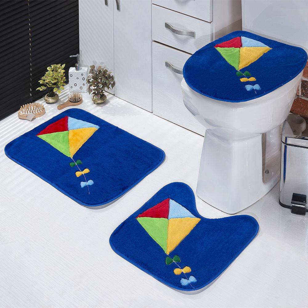 Jogo De Banheiro 03 Peças Em Pelúcia Estampa Pipa - Azul Royal