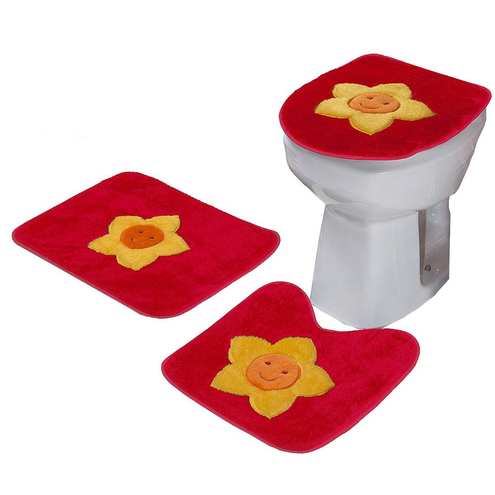 Jogo De Banheiro 03 Peças Em Pelúcia Estampa Sol - Vermelho