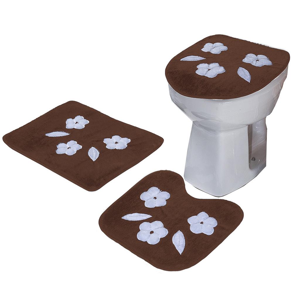 Jogo De Banheiro 03 Peças Em Pelúcia Estampa Três Margaridas - Tabaco
