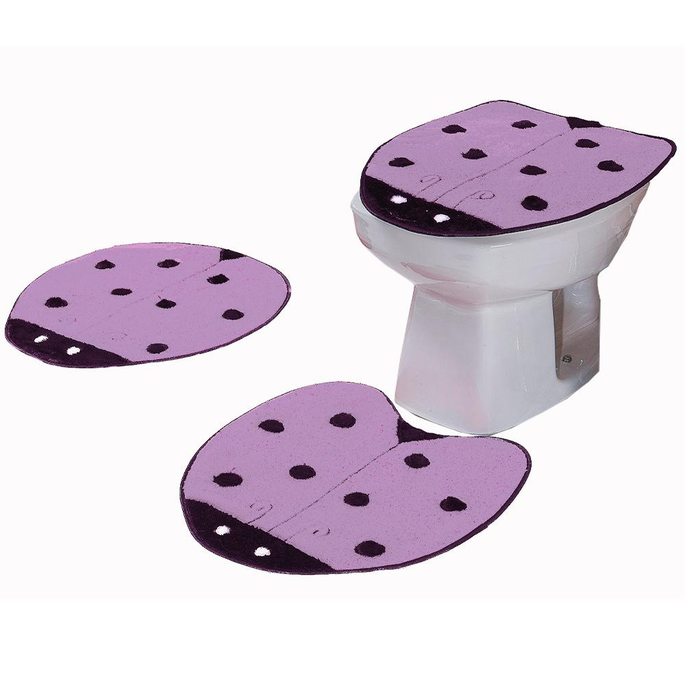 Jogo De Banheiro 03 Peças Em Pelúcia Joaninha - Lilás