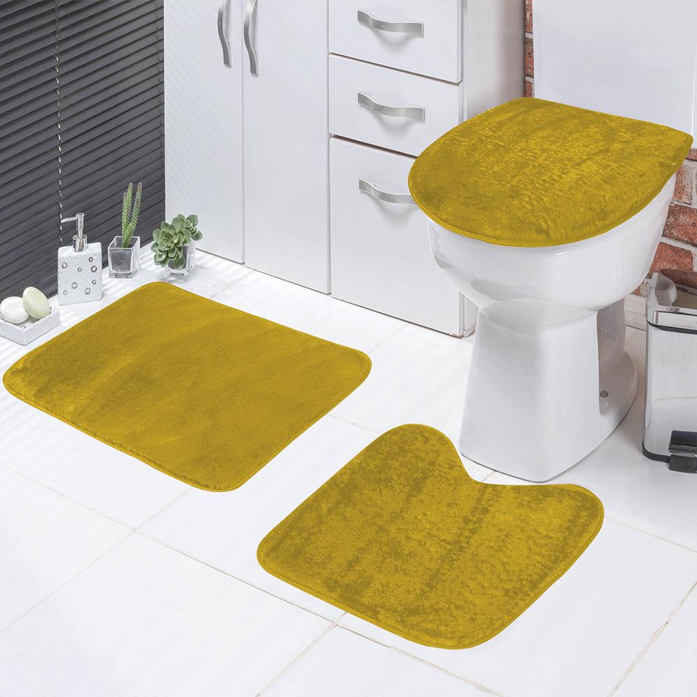 Jogo De Banheiro 03 Peças Em Pelúcia Liso - Amarelo