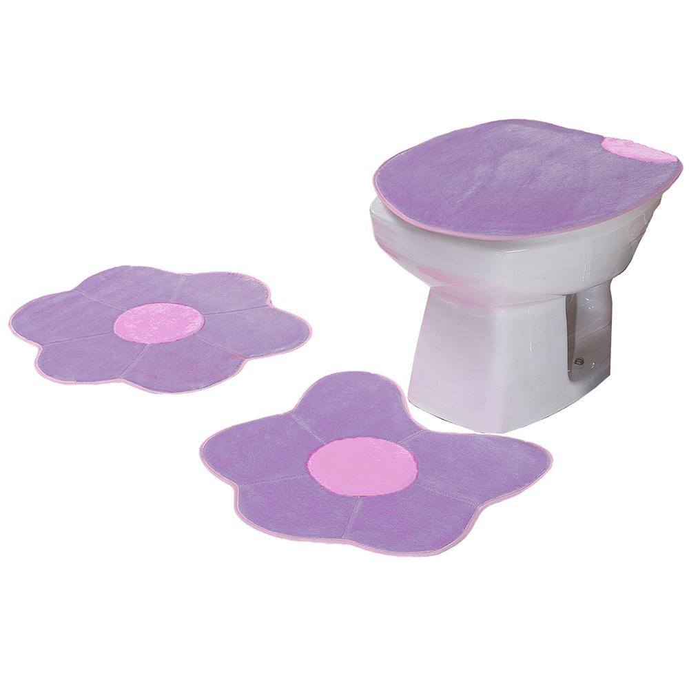 Jogo De Banheiro 03 Peças Em Pelúcia Margarida - Lilás