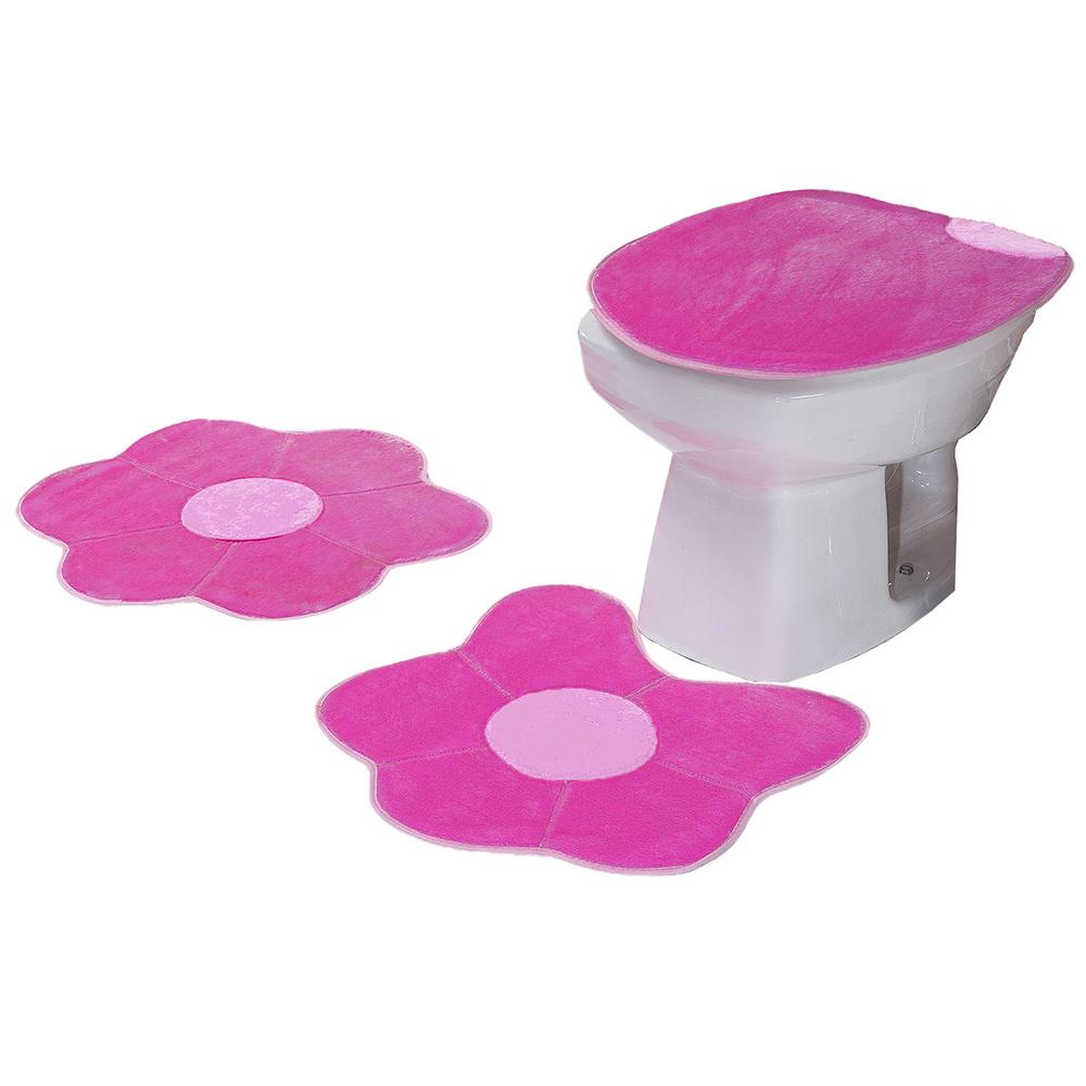 Jogo De Banheiro 03 Peças Em Pelúcia Margarida - Pink