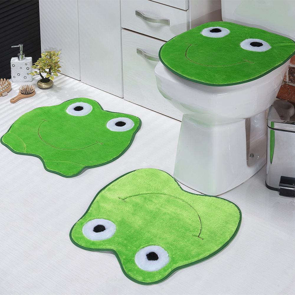 Jogo De Banheiro 03 Peças Em Pelúcia Sapo - Verde