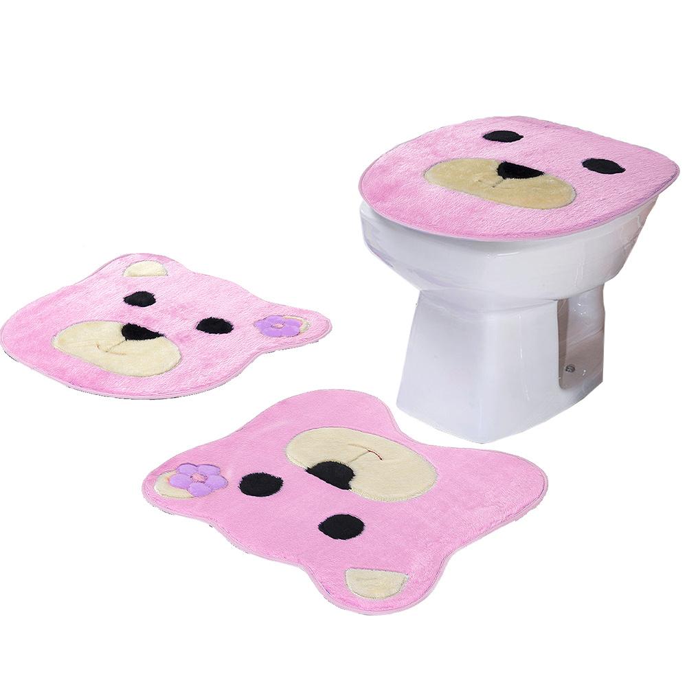 Jogo De Banheiro 03 Peças Em Pelúcia Ursa - Rosa