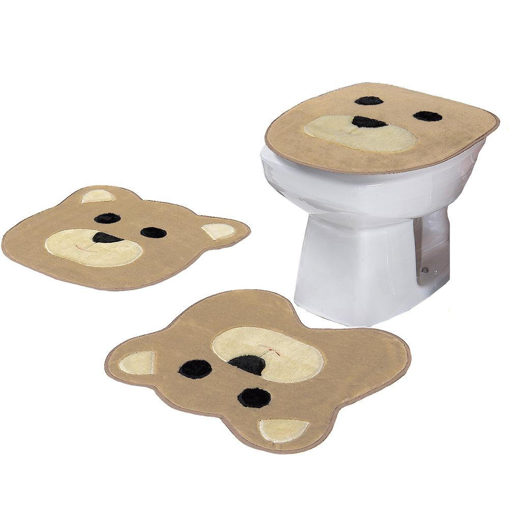 Jogo De Banheiro 03 Peças Em Pelúcia Urso - Cáqui