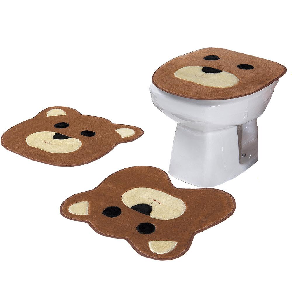 Jogo De Banheiro 03 Peças Em Pelúcia Urso - Caramelo
