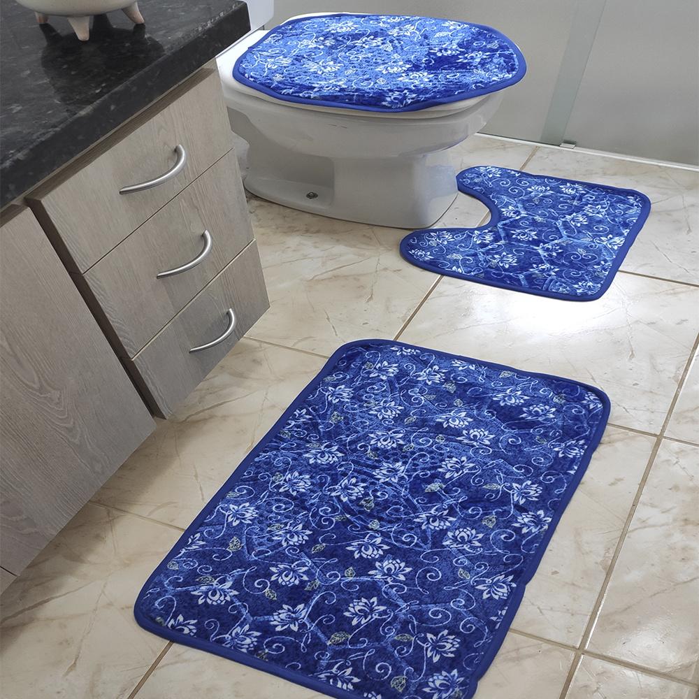 Jogo de Banheiro Estampado Com Relevo 03 Peças - Floral Azul
