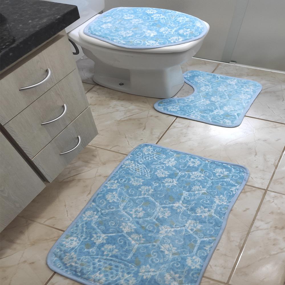 Jogo de Banheiro Estampado Com Relevo 03 Peças - Floral Azul Claro