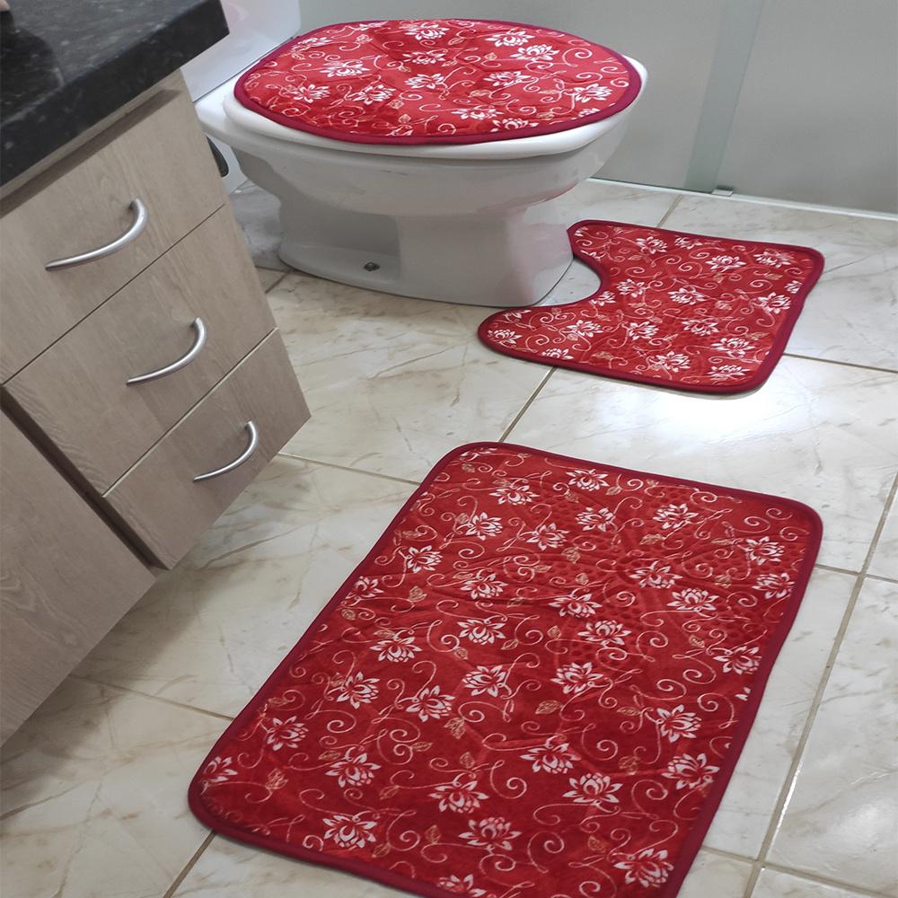 Jogo de Banheiro Estampado Com Relevo 03 Peças - Floral Vermelho