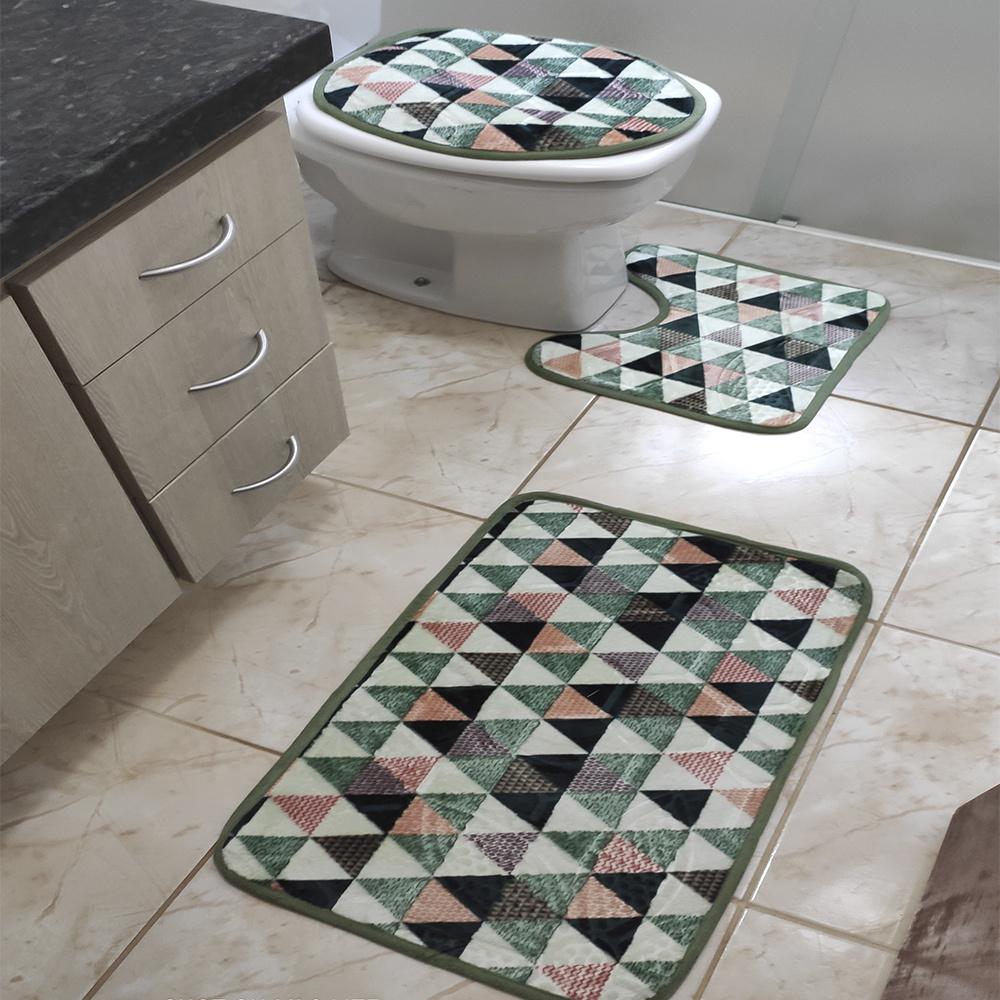 Jogo de Banheiro Estampado Com Relevo 03 Peças - Geométrico Verde