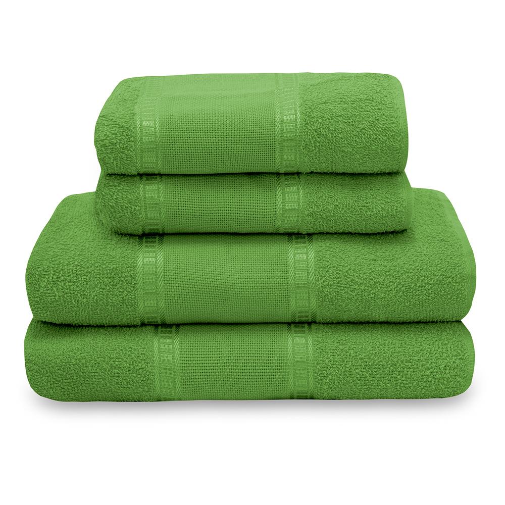 Jogo De Banho Liso 04 Peças Nobre 100% Algodão - Verde