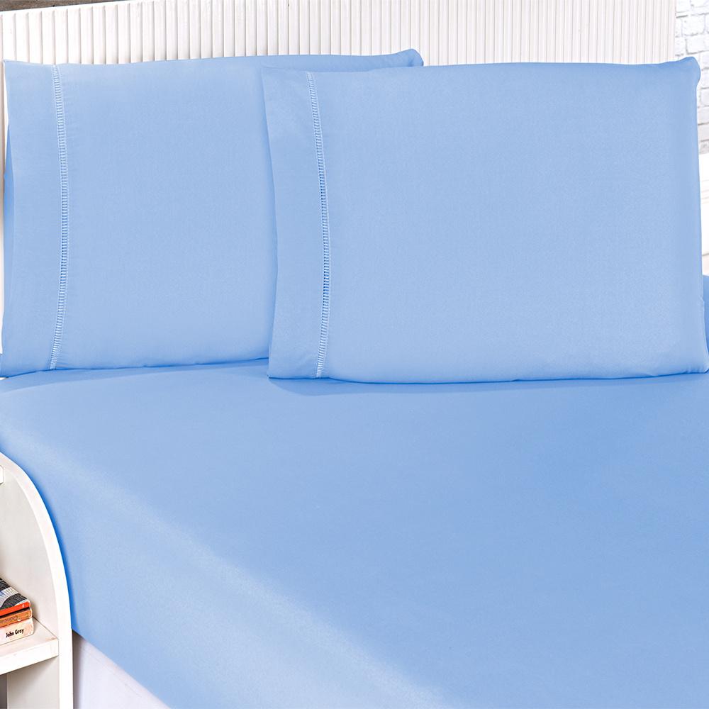 Jogo De Cama Casal Padrão 03 Peças Com Detalhe Ponto Palito Percal 180 Fios - Azul