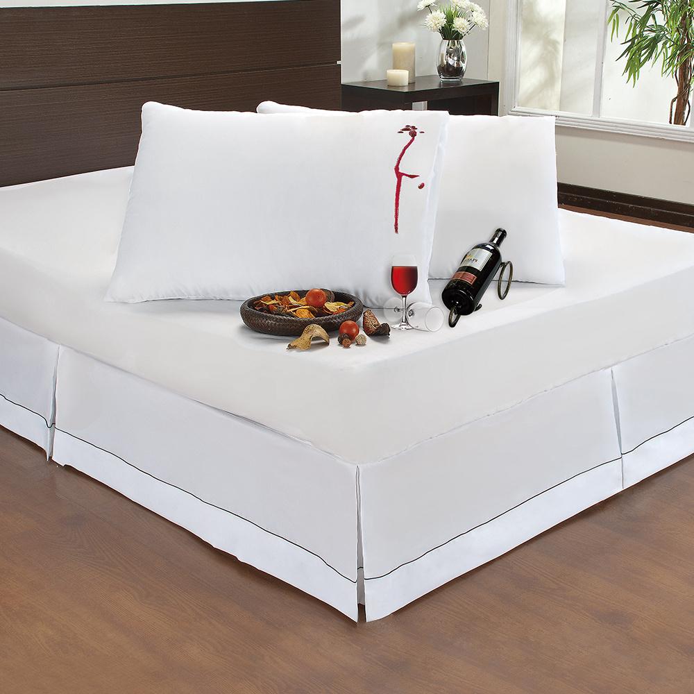 Kit 06 Protetores De Travesseiro Impermeável Com Zíper Para Travesseiro 70cm x 50cm - Branco