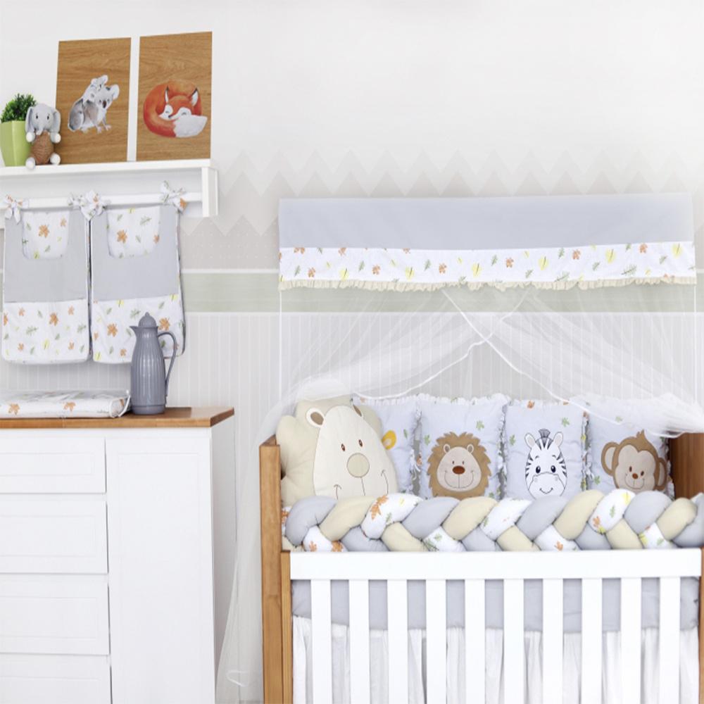 Kit Berço Padrão Americano E Nacional 10 Peças 100% algodão Bichinhos Baby Magia - Cinza