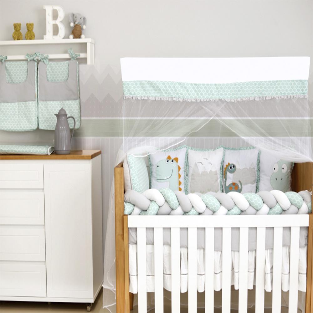 Kit Berço Padrão Americano E Nacional 10 Peças 100% algodão Dinos Baby Magia - Cinza