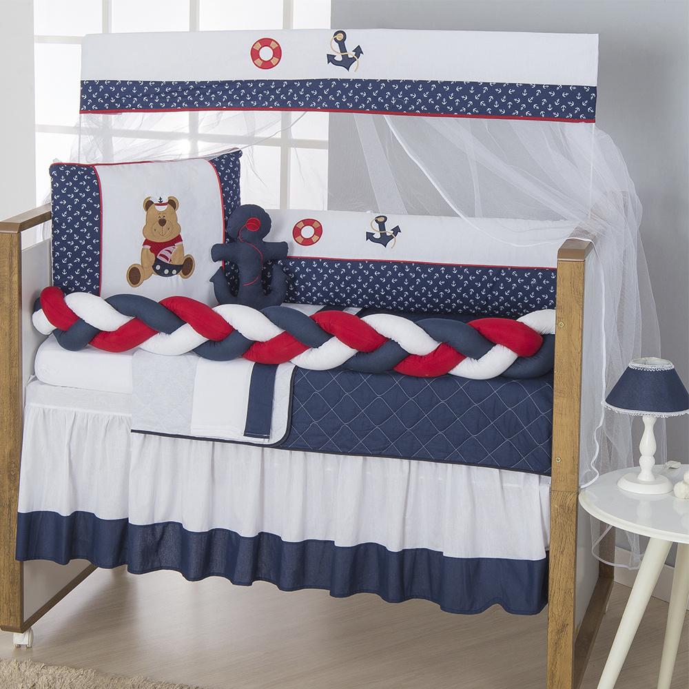 Kit Berço Padrão Americano E Nacional 11 Peças Tecido Misto Trança Urso Marinheiro  - Azul Marinho