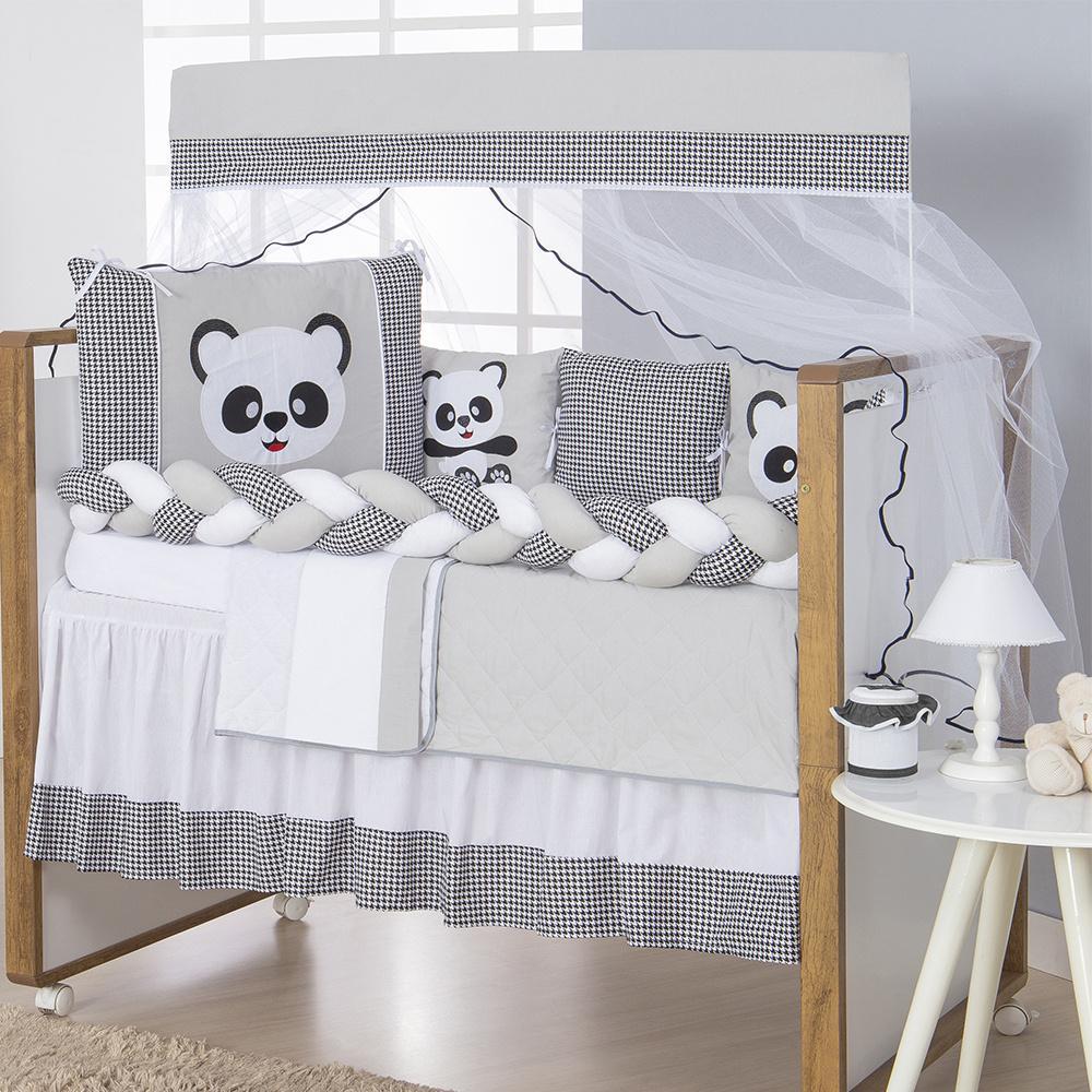 Kit Berço Padrão Americano E Nacional 13 Peças Tecido Misto Trança Panda - Cinza