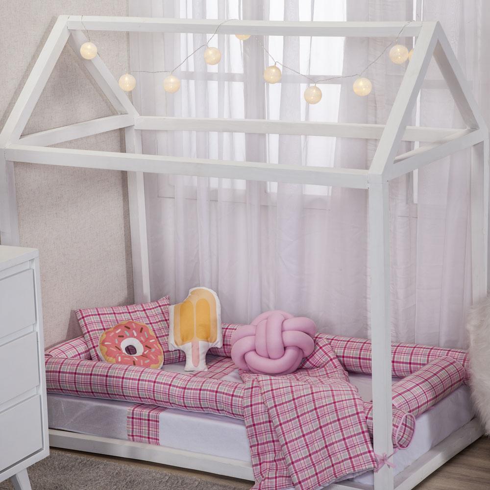 Kit Montessoriana Para Bebê Percal 150 Fios 11 Peças Moderninhos - Xadrez Rosa