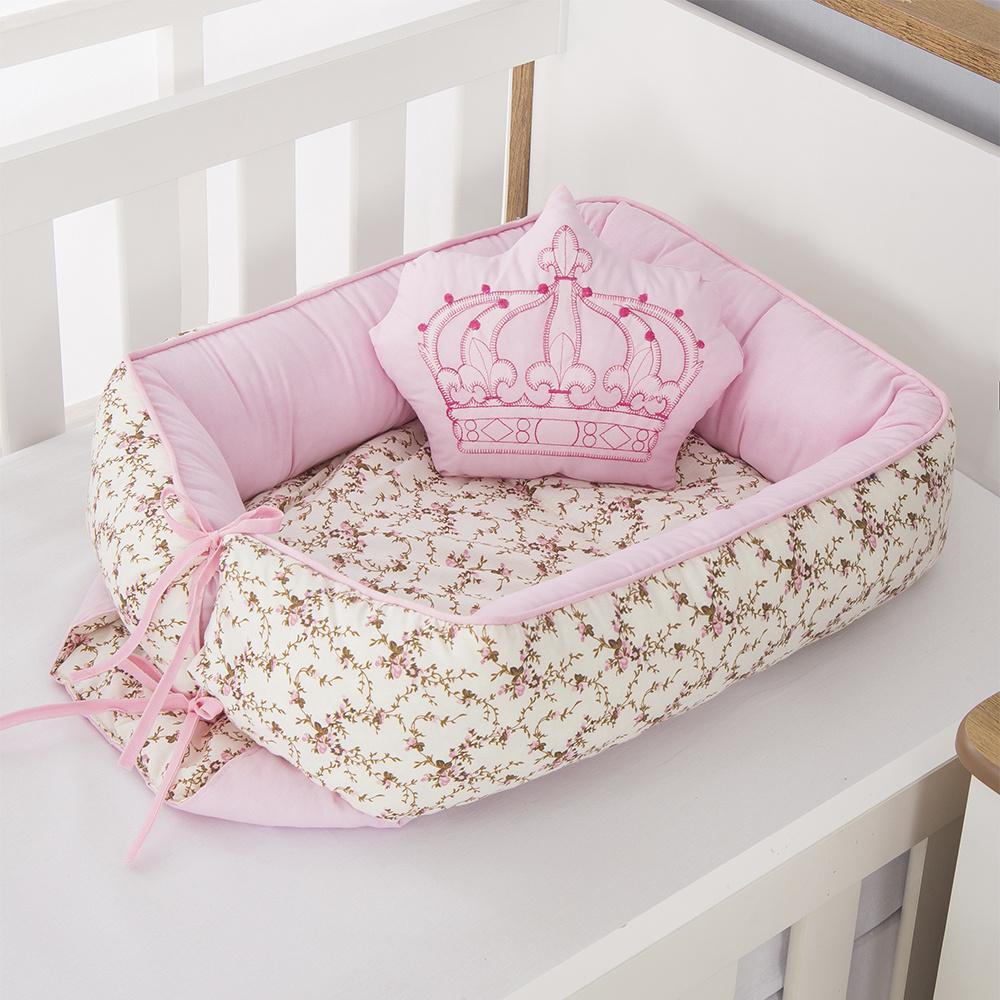 Ninho Para Bebê Redutor De Berco 02 Peças 70cm x 50cm 100% Algodão Menina Coroa Imperial - Rosa