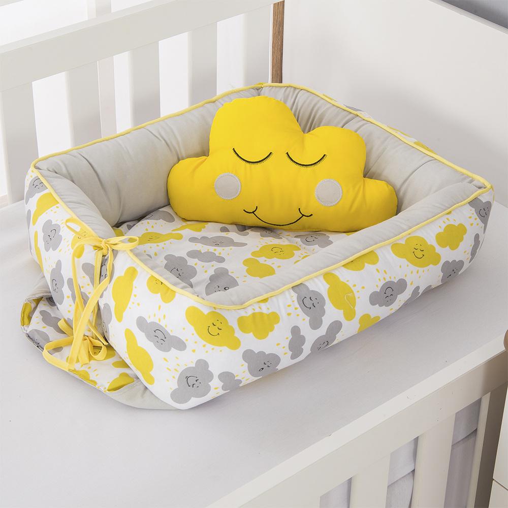 Ninho Para Bebê Redutor De Berco 02 Peças 70cm x 50cm 100% Algodão Menina  Nuvem - Amarelo