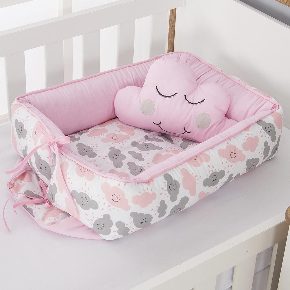 Ninho Para Bebê Redutor De Berco 02 Peças 70cm x 50cm 100% Algodão Menina Nuvem - Rosa