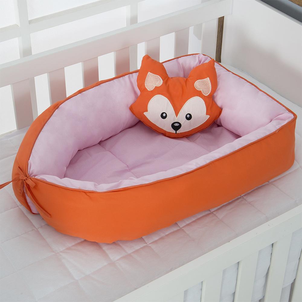 Ninho Para Bebê Redutor De Berco 02 Peças 70cm x 50cm 100% Algodão Menina Raposa - Rosa