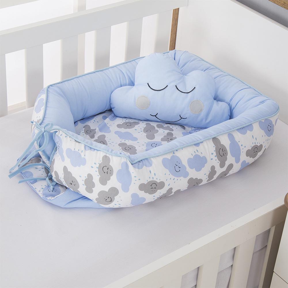 Ninho Para Bebê Redutor De Berco 02 Peças 70cm x 50cm 100% Algodão  Menino Nuvem - Azul Claro