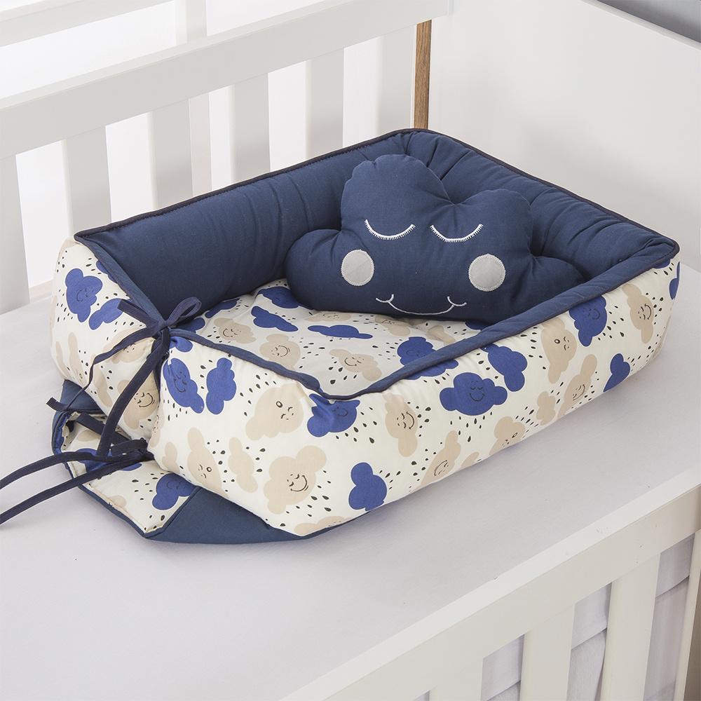 Ninho Para Bebê Redutor De Berco 02 Peças 70cm x 50cm 100% Algodão  Menino Nuvem - Azul Marinho
