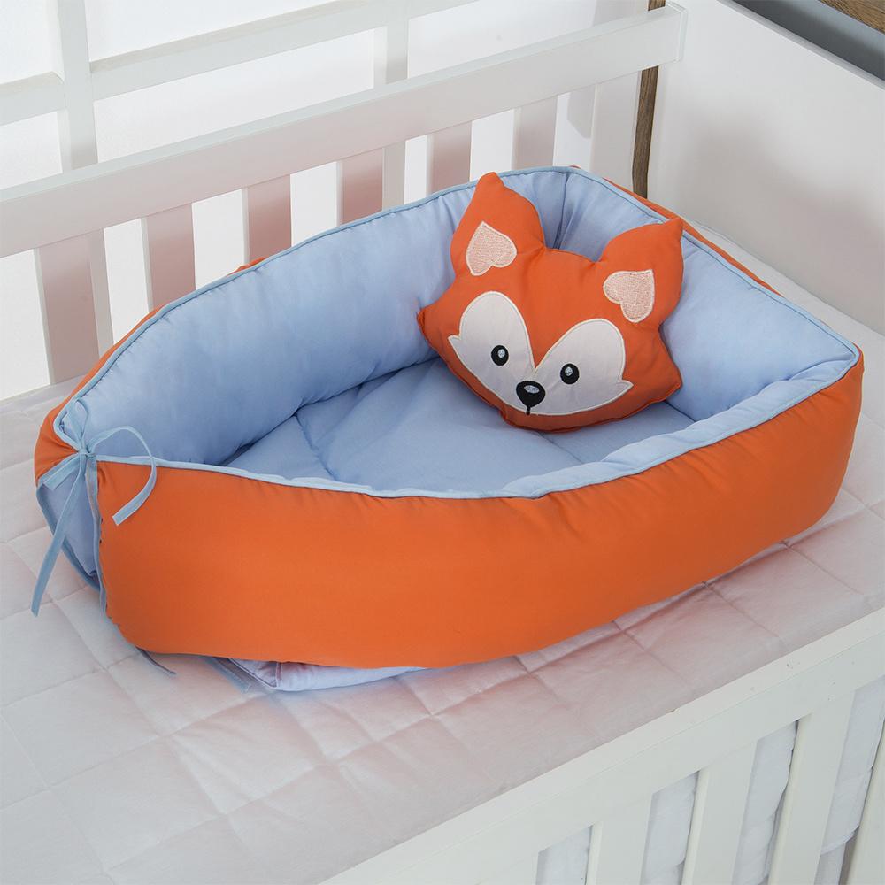 Ninho Para Bebê Redutor De Berco 02 Peças 70cm x 50cm 100% Algodão Menino Raposa -  Azul Claro