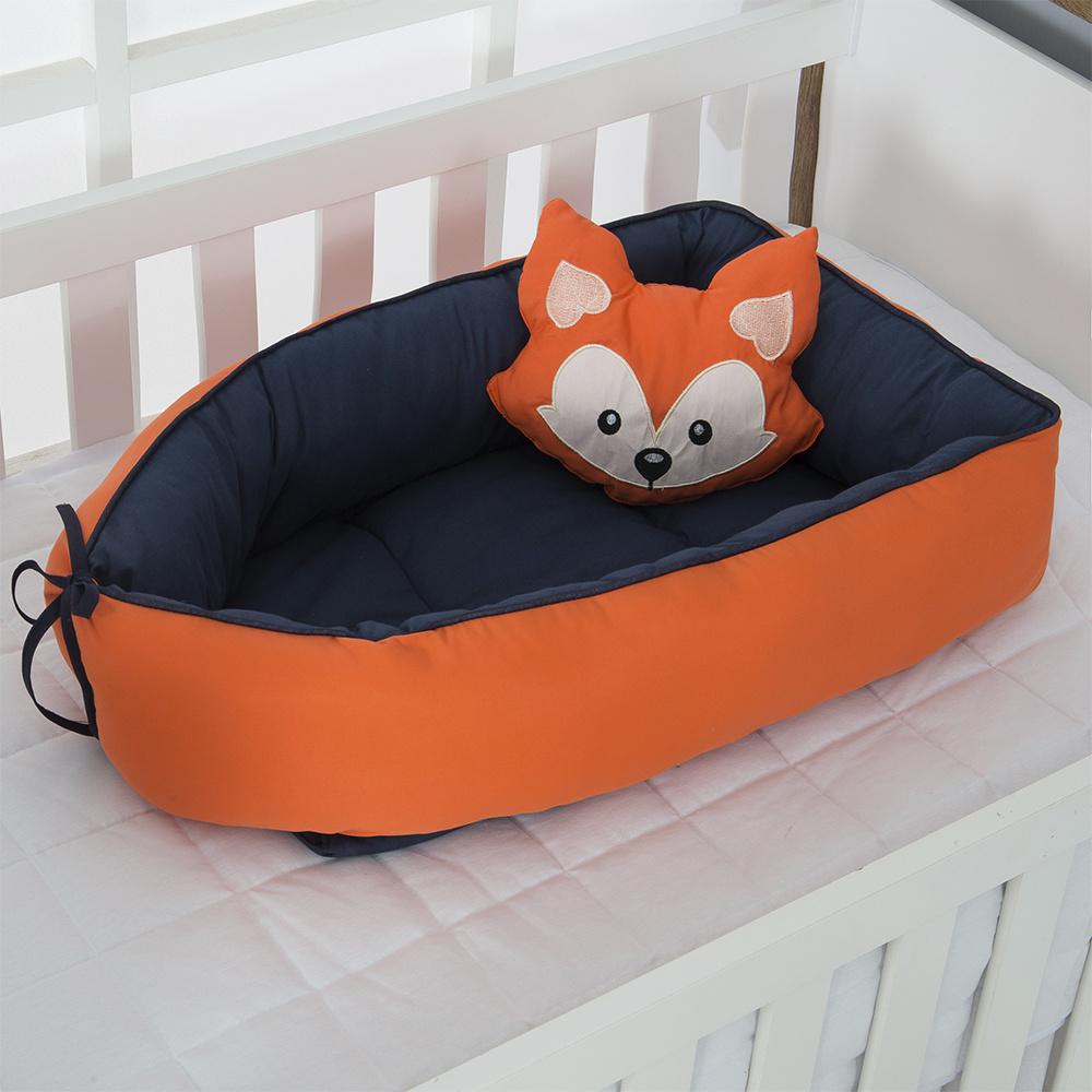 Ninho Para Bebê Redutor De Berco 02 Peças 70cm x 50cm 100% Algodão Menino Raposa -  Azul Marinho